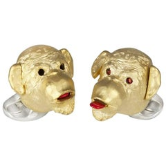 Deakin & Francis Ruby Silver Gold-Plated Cheeky Monkey Cufflinks