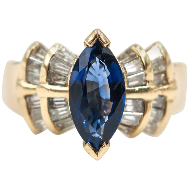 Marquise-cut Blue Sapphire and Diamond Ring