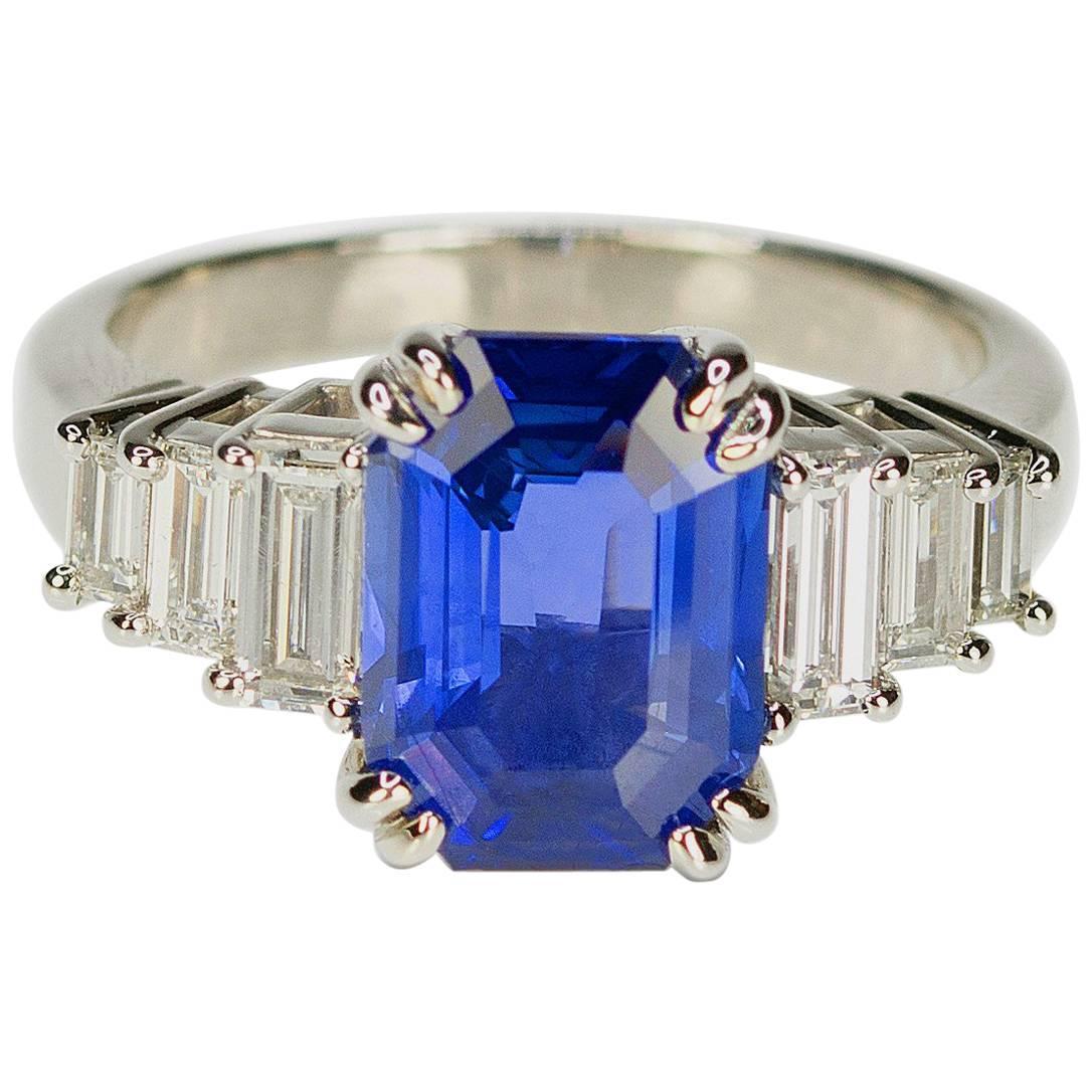 AGL Certified 3.63 Carat No Heat Sapphire Diamond Platinum Ring