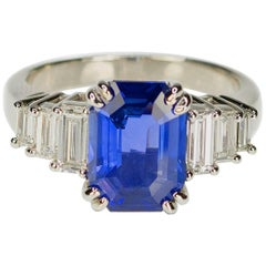 AGL Certified 3.63 Carat No Heat Sapphire Diamond Platinum Ring