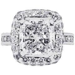 GIA Certified 3.05 Carat Radiant Cut Diamond Engagement Ring