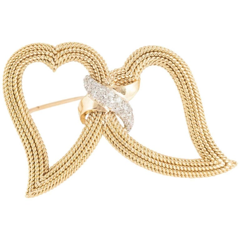 Brooch, Sterle of Paris Double Heart Set Diamonds, French 18kt Gold, circa 1950