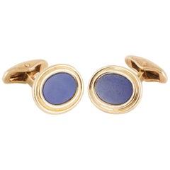 Cufflinks,14kt gold and lapis lazuli single sided ,c,1970