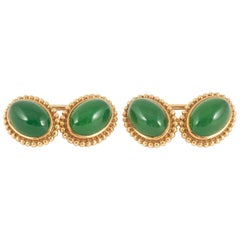Cufflinks,18ct gold and Chrysophrase oval ,well matched in colour,English c,1900