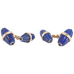 Cufflinks, Lapis Lazuli, Sapphire, 14kt Gold, Fluted of Two Sizes, circa 1960