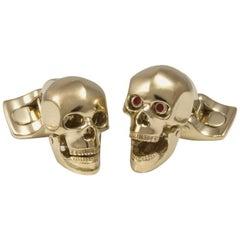 Deakin & Francis Gold-Plated Skull Cufflinks