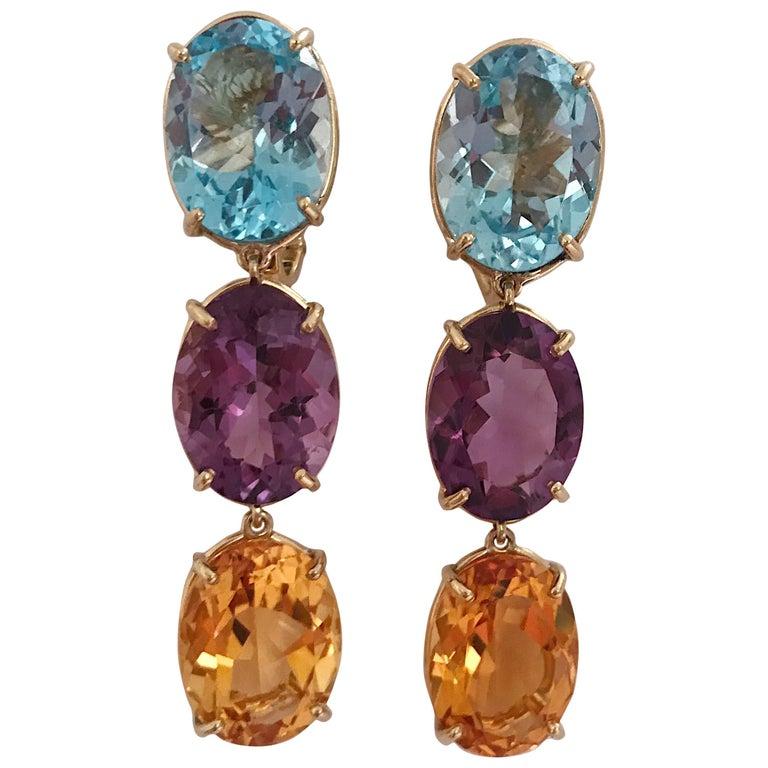 Elegant Three-Stone Drop Earrings