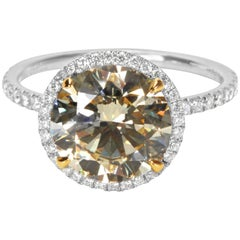GIA Certified Diamond Halo Engagement Ring, 3.50 Carat