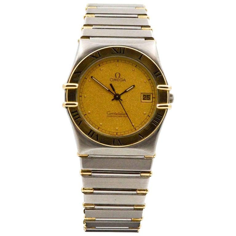 Omega Yellow Gold Stainless Steel Constellation Quartz Wristwatch