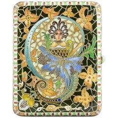 Antique Russian Art Nouveau Shaded Cloisonné Enamel Mermaids Case