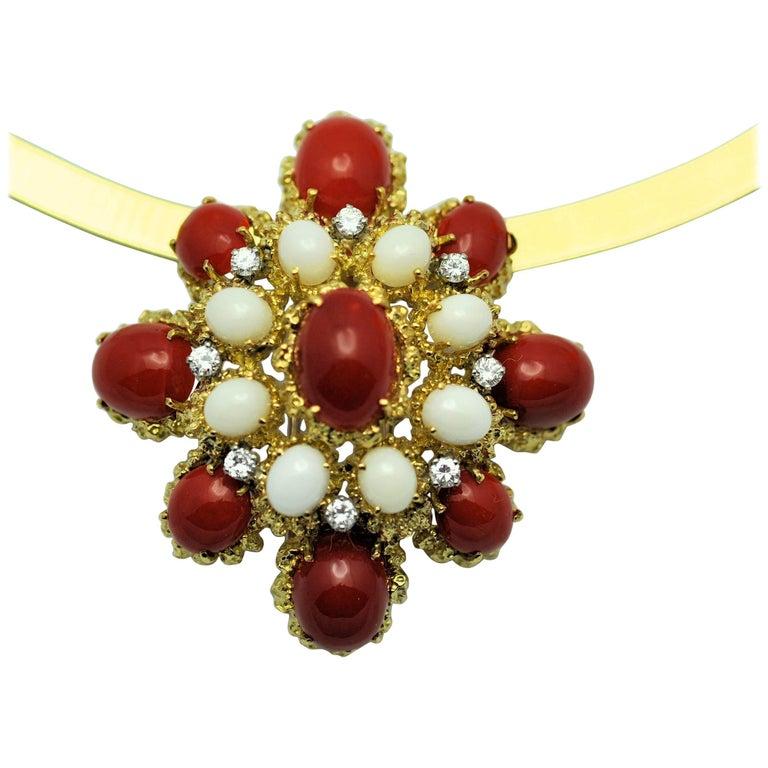 18 Karat Gold, Coral and Diamond Brooch-Pendant