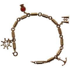 Gold Nautical Charm Bracelet