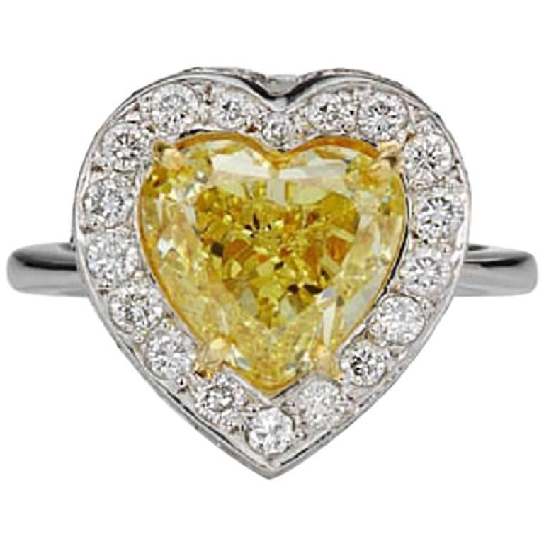 Scarselli GIA 5 carat Intense Yellow Heart Shape Diamond Ring in Platinum