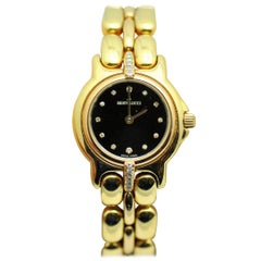 Bertolucci Ladies Yellow and Rose Gold Diamond Black Dial Wristwatch