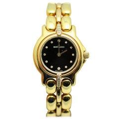 Bertolucci Ladies Yellow and Rose Gold Diamond Black Dial Wristwatch