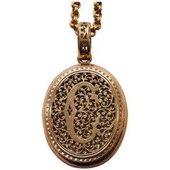 Antique French Savoyard Initial C Pierced Gold Double Open Locket