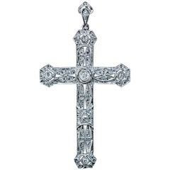 Antique Edwardian Diamond Platinum Openwork Cross Pendant