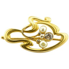 Russian Imperial Art Nouveau Gold White and Brown Diamond and Pearl Brooch