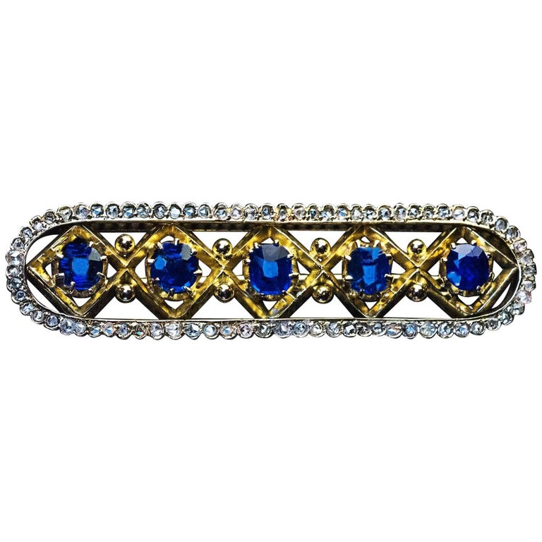 Antique Late 19th Century Sapphire Diamond Brooch