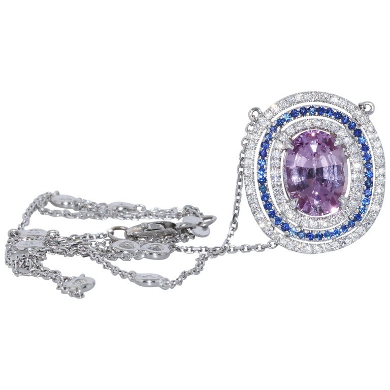 3.31 Burma No Heat Pink Sapphire Pendant Necklace in White Gold, GIA Certified