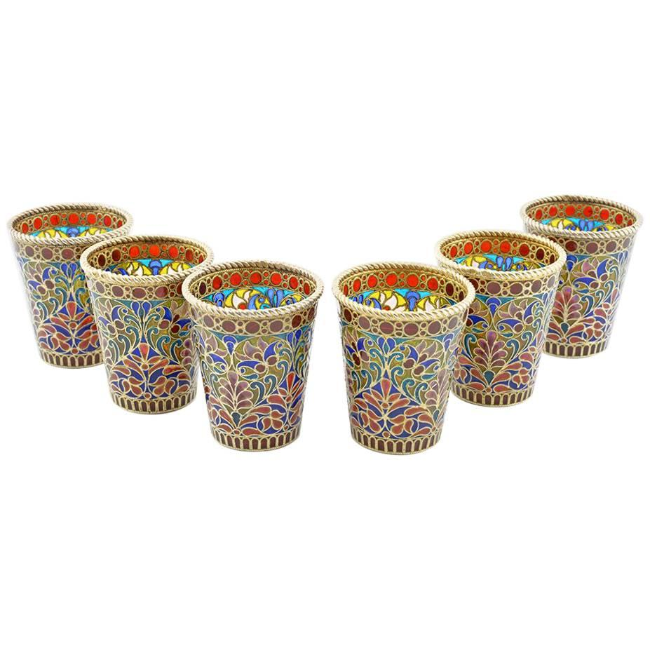 Set of Six Russian Silver and Plique-à-Jour Enamel Toasting or Shot Glasses