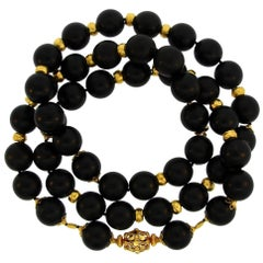 Verdura Ebony Wood Bead Strand Necklace with Yellow Gold Clasp and Rondelles