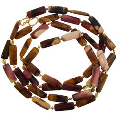 Verdura Agate Bead Strand Necklace with Yellow Gold Clasp