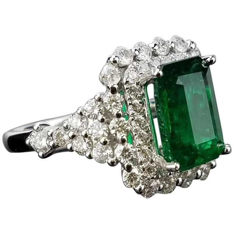 2.97 carat Emerald and Diamond Cocktail Ring