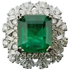 6.6 Carat Zambian Emerald and Diamond 18 Karat Gold Cocktail Ring