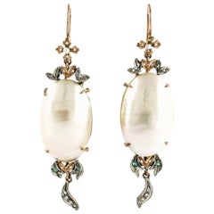 Rose Gold Pendant Earrings Aregnto, Pearls, Diamonds and Emeralds