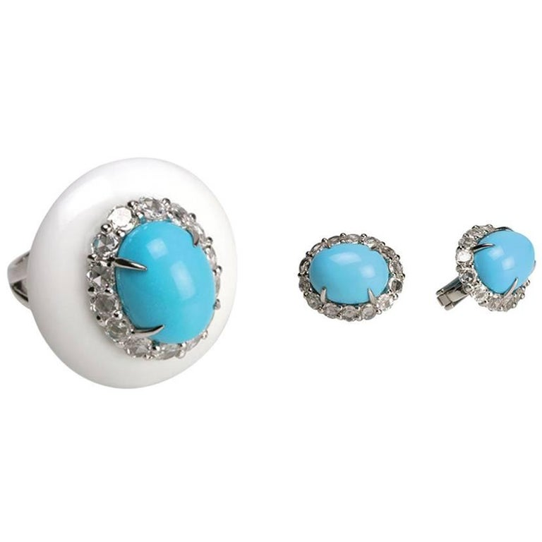 Youmna Fine Jewellery 18K White Gold, Turquoise, Diamonds Ring & Earrings Suite