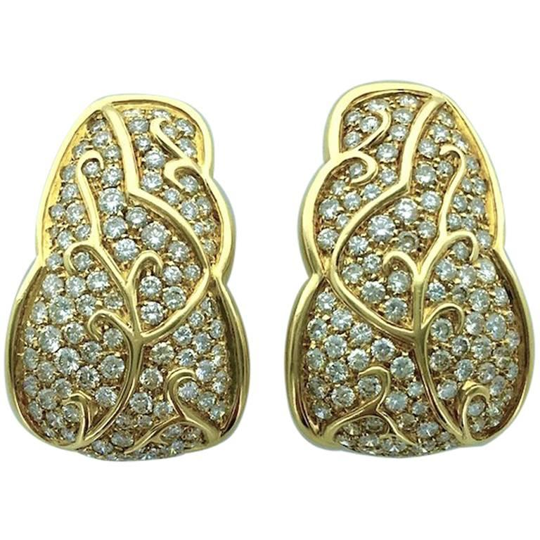 1980S French Diamond and Yellow Gold Earrings