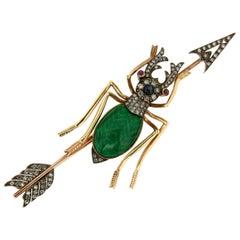 19Th Antique Beetle Gold Enamel Diamonds Brooch