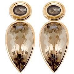 Rose Gold Smoky Quartz Earrings
