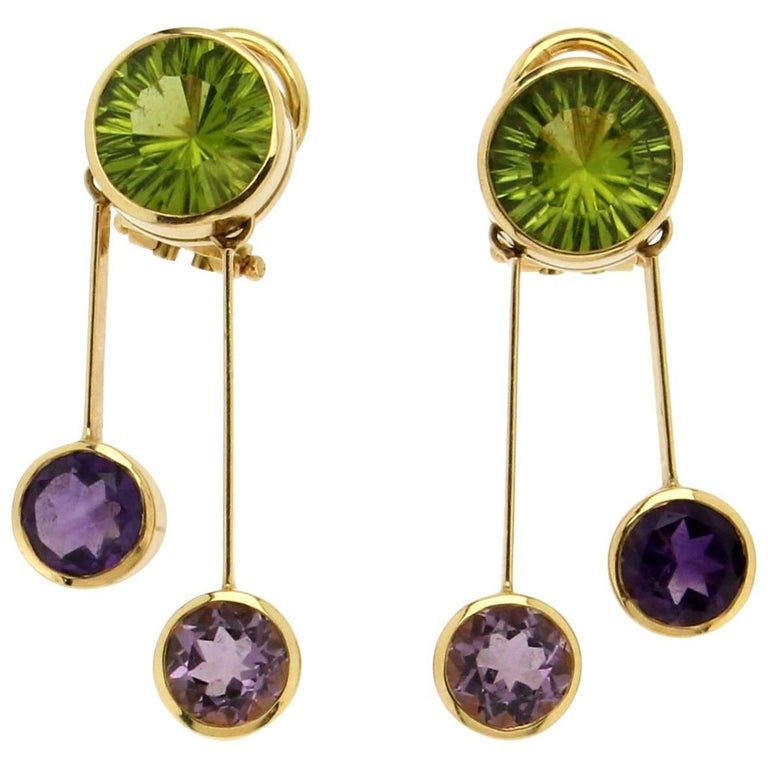 Yellow Gold Peridot And Amethyst Earrings For Sale