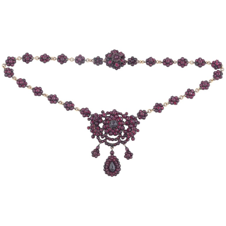 Mid-19th Century Victorian Gold Silver and Garnets Necklace