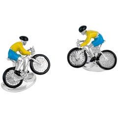 Deakin & Francis Sterling Silver Bike and Rider Cufflinks