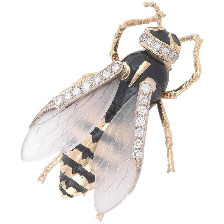 Enamel And Diamond Wasp Brooch