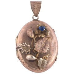 Mid-19th Century Neapolitan Gold Locket Portrait Holder Oval Pendant