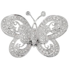 1.00 Carat Pave Diamond Gold Butterfly Brooche