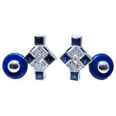 Round White Diamond Square Blue Sapphire Lapis Back White Gold Setting Cufflinks