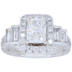 Radiant Cut Halo Style Neil Lane Diamond Engagement Ring