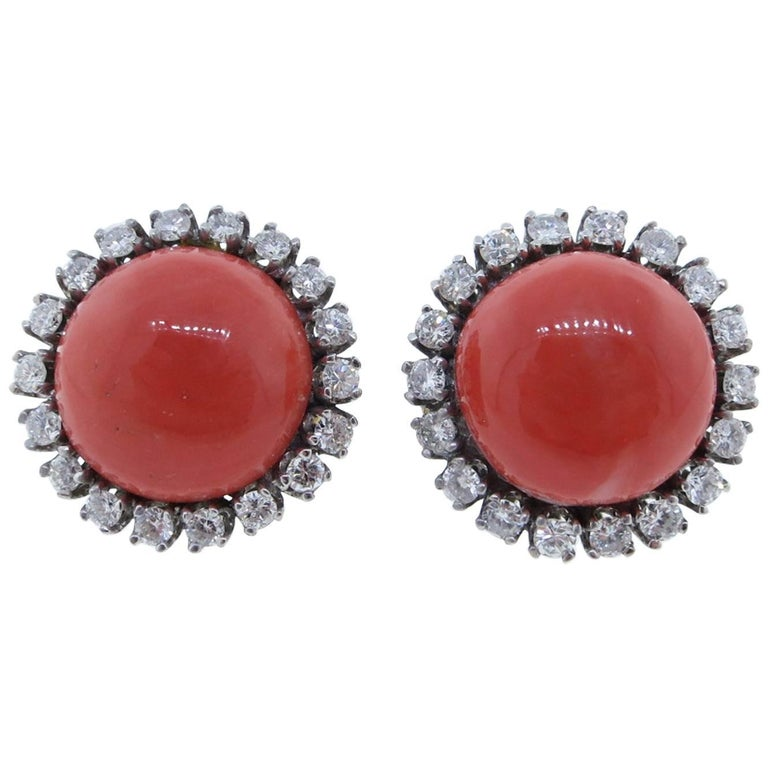1960s  Natural Coral Button Diamond Earrings