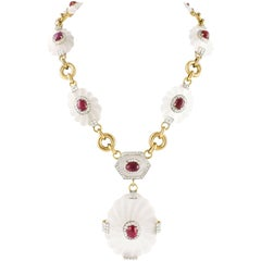 Rock Crystal Diamond Ruby Gold Sautoir Necklace