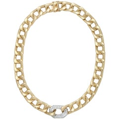 Gold Flat Curb Chain with Diamond Pave Centre Link