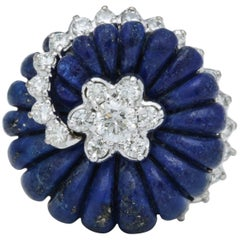 Carved Lapis and Diamond Ring