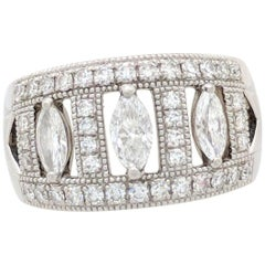 Ladies Platinum Marquise Diamond Right Hand Ring .96ctw