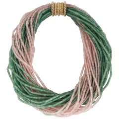 Tiffany & Co. Green and Pink Quartz Bead Torsade