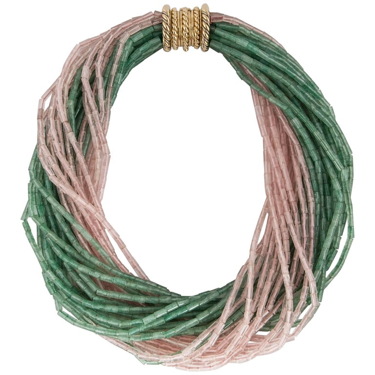 Tiffany & Co. Green and Pink Quartz Bead Torsade For Sale