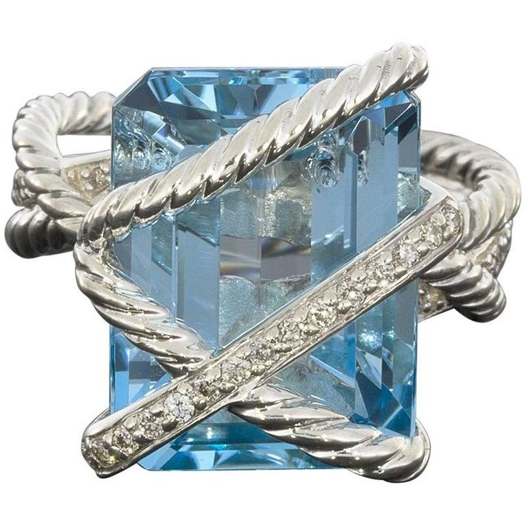 David Yurman Blue Topaz & Diamond Sterling Silver Cable Wrap Ring